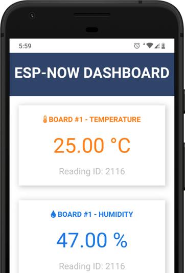 ESP32 ESP-NOW Web Server Sensor Dashboard Mobile Responsive