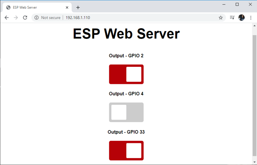 ESP32 Async Web Server Control Outputs web browser demonstration GPIOs
