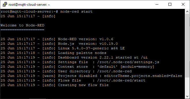 Digital Ocean Node-RED software node-red start command