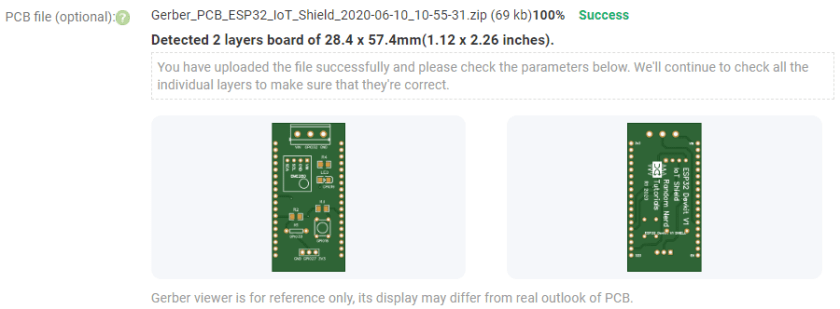 PCBWay Order PCB Gerber files preview window