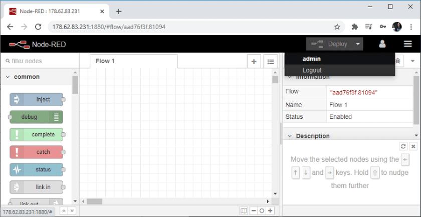 Digital Ocean Node RED Dashboard software logout button
