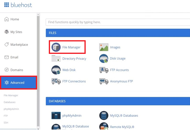 Bluehost open advanced and file manager files to create upload.php file and uploads folder
