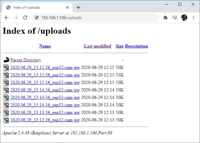 ESP32-CAM Camera Board Uploads Folder Images stored server Demonstration