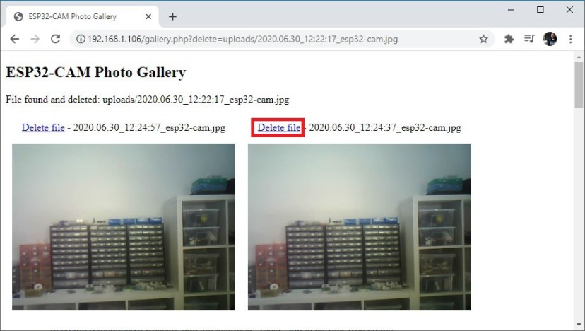 ESP32-CAM delete file from gallery php