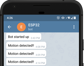 ESP32 ESP8266 Motion Detected Telegram Notification