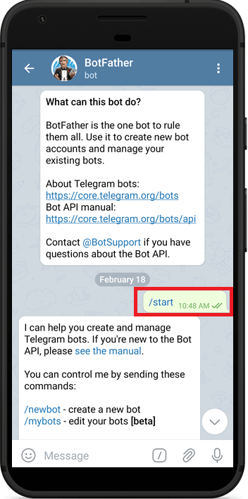 Telegram Start BotFather to Create a new Bot