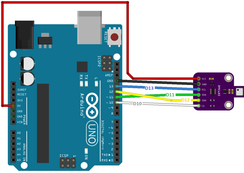 Arduino BME680 Wiring Diagram Circuit SPI communication