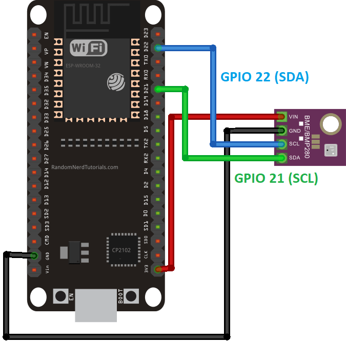 ESP32 BME280 Sensor Temperature Humidity Pressure Wiring Diagram Circuit