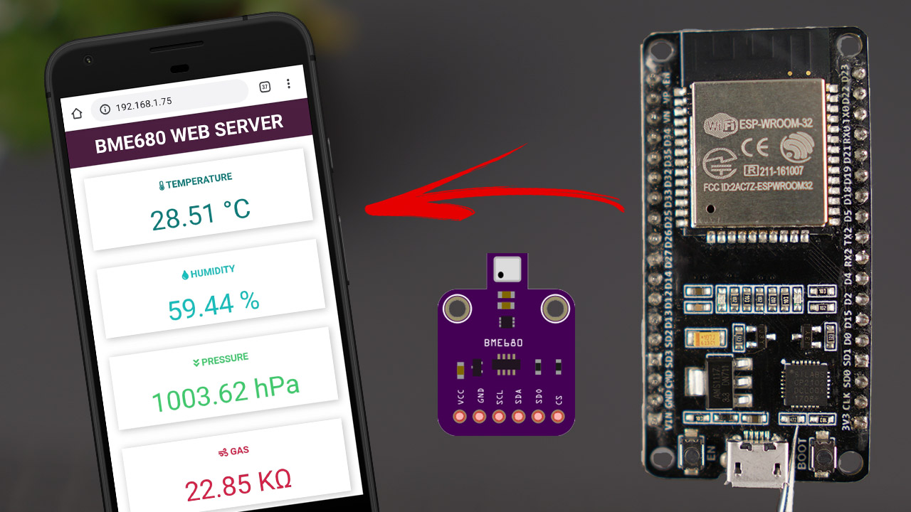 ESP32 BME680 Gas sensor humidity barometric pressure ambient temperature gas air quality Arduino IDE Web Server