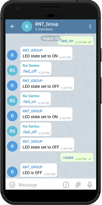 Control ESP32 ESP8266 using Telegram Group Demonstration