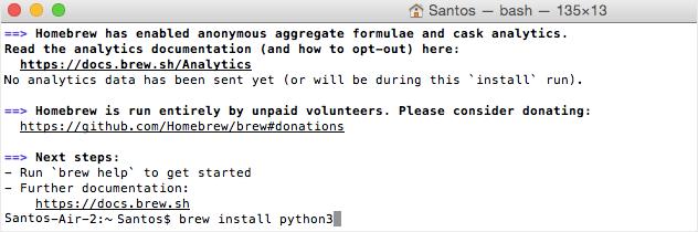 Microsoft Visual Studio Code VS Code installing Python 3 with brew command