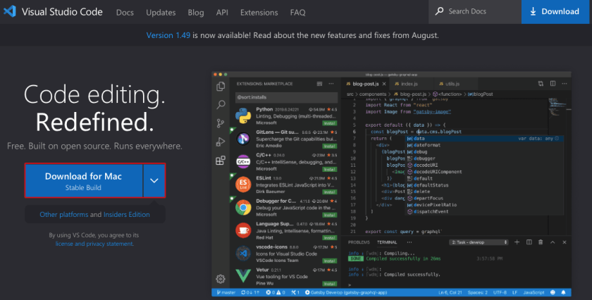 Microsoft Visual Studio Code VS Code Download Page for Mac OS X