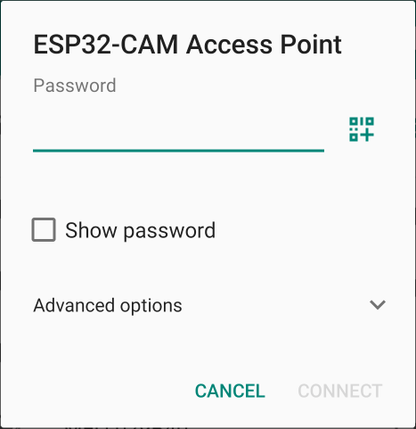 Connect to ESP32-CAM Access Point Smartphone Insert Password