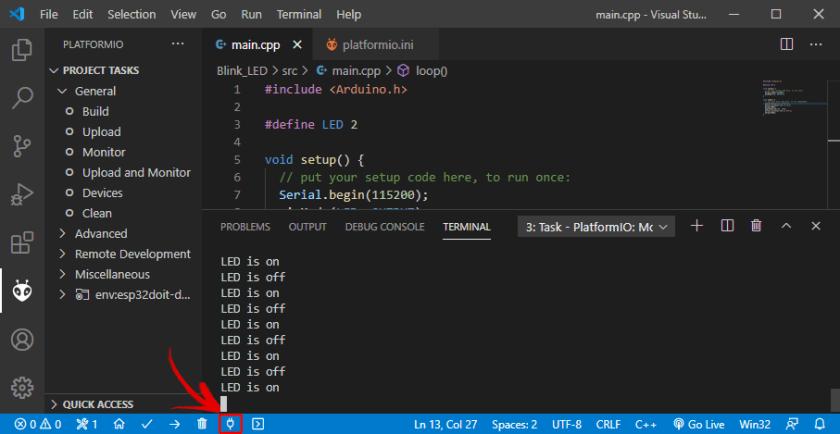 PlatformIO IDE VS Code Visual Studio Serial Monitor ESP32 board