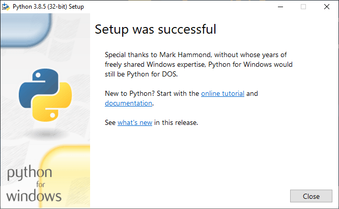 Python Installation successful on Windows PC