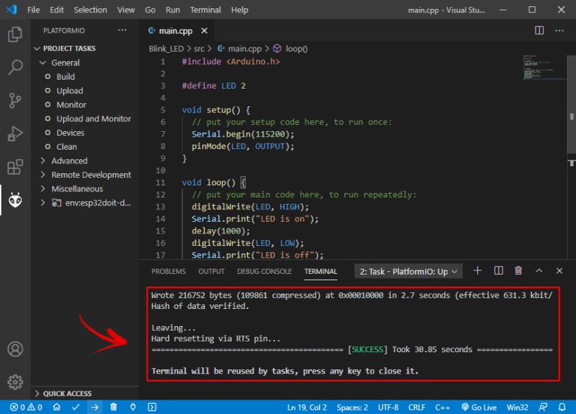 Upload Code to ESP32 PlatformIO VS Code Success