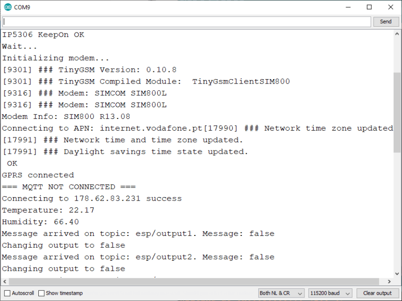 ESP32 SIM800L connect to the internet using SIM card data plan demonstration Cloud MQTT broker