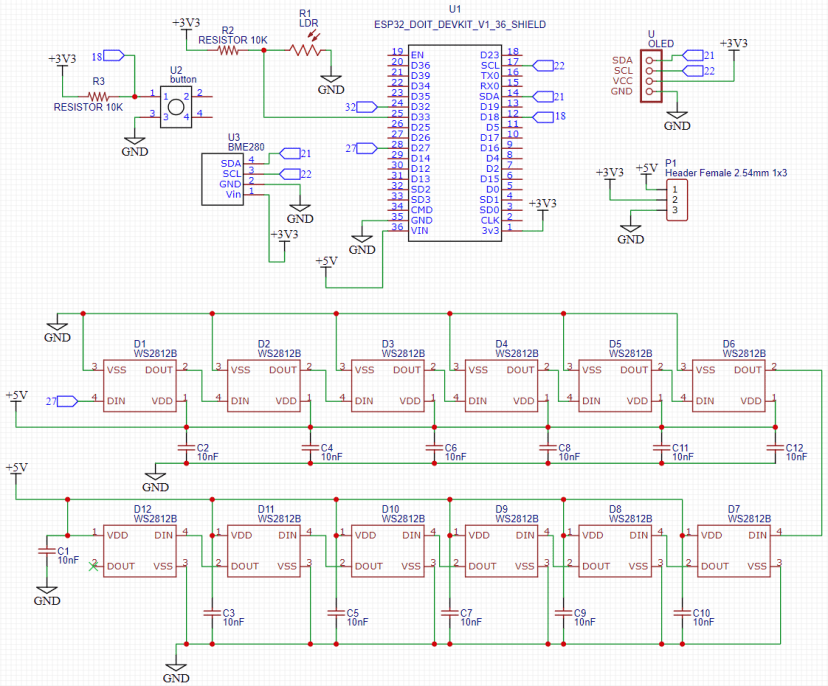 ESP32 Weather Station Interface PCB Schematic Diagram Wiring Circuit