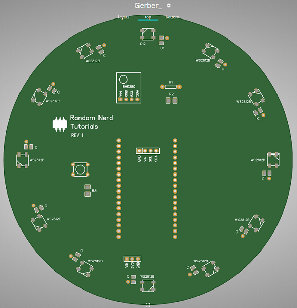 ESP32 PCB Weather Station Interface Gerber Viewer Online