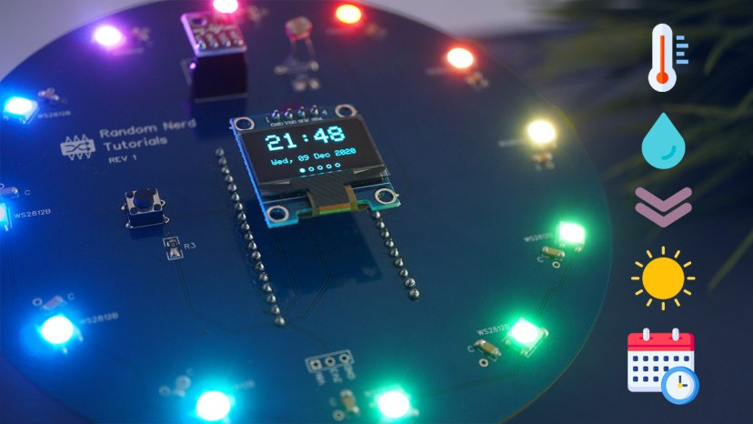 ESP32 Weather Station Interface PCB Shield Temperature Humidity Pressure Date Time
