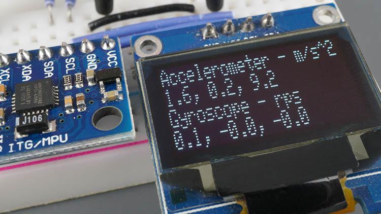 MPU-6050 Module Accelerometer Gyroscope Temperature Sensor OLED Demonstration ESP32 ESP8266