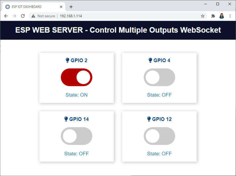 Control Multiple ESP32 ESP8266 Outputs Websocket Web Server