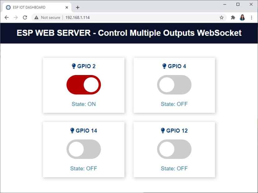 Control Multiple ESP32 ESP8266 Outputs Websocket Web Server