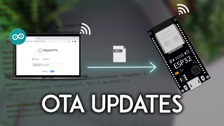 ESP32 OTA Over-the-Air Updates AsyncElegantOTA using Arduino IDE Firmware Filesystem