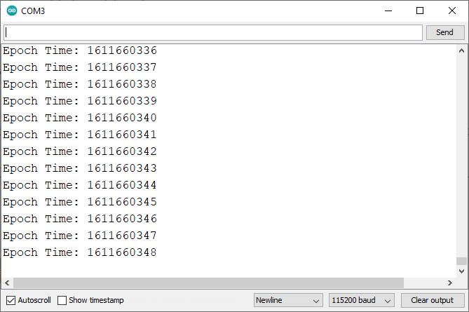 ESP32 Get Epoch Unix Time Serial Monitor