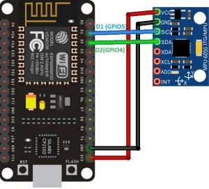 MPU6050 Accelerometer Gyroscope Wiring to ESP8266 NodeMCU Schematic Diagram
