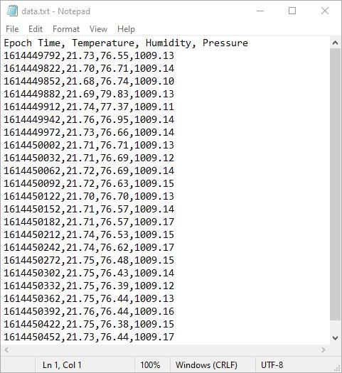 ESP32 BME280 Datalogging to file on microSD card