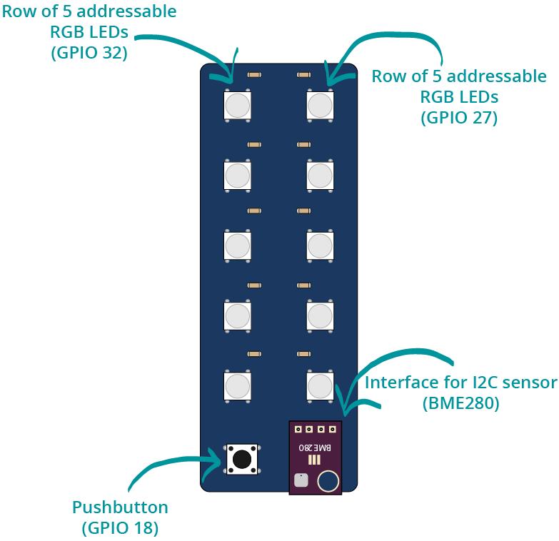 ESP32 Status Indicator Sensor Shield RGB LEDs Overview