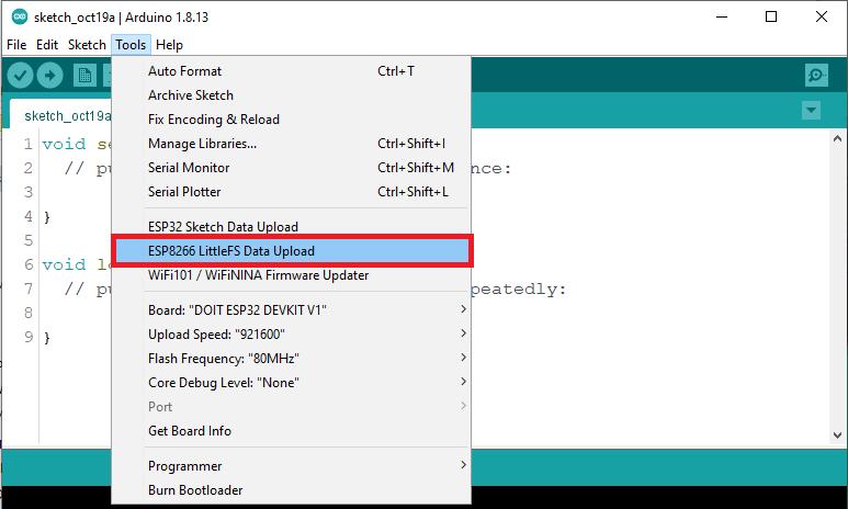 ESP8266 Tools LittleFS Data Upload Arduino IDE