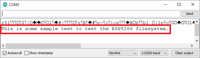 Testing ESP8266 LittleFS Serial Monitor