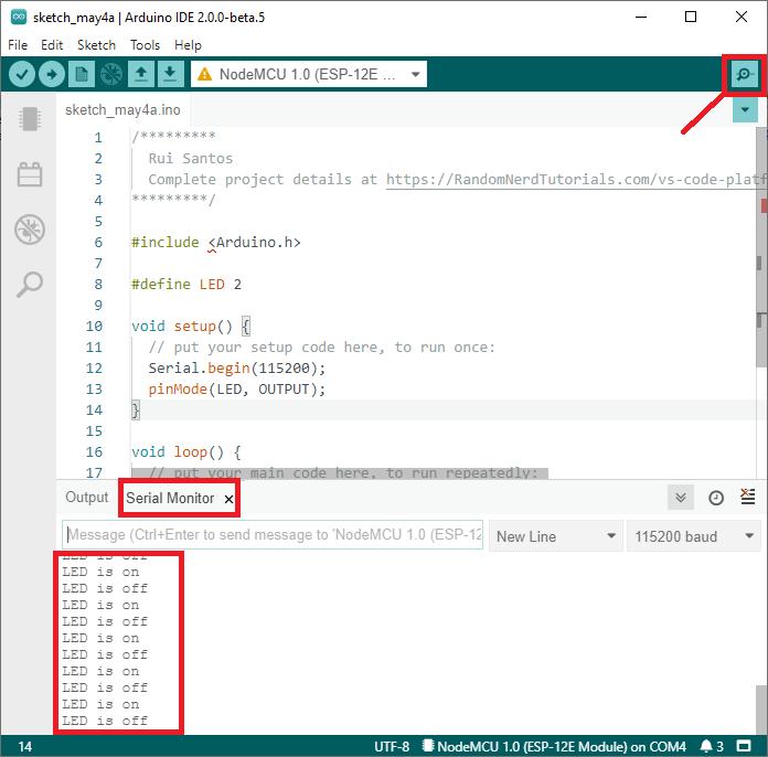 Open Arduino IDE Serial Monitor Arduino IDE 2.0 ESP8266 NodeMCU