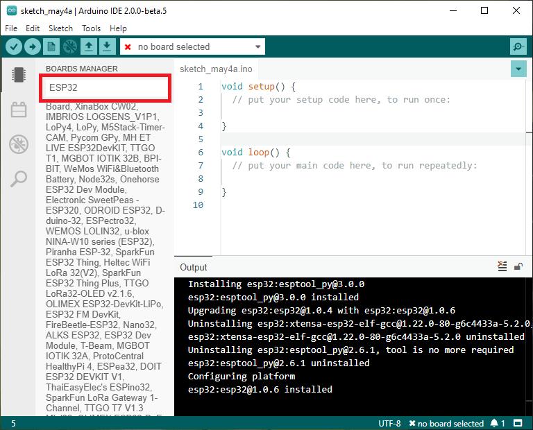 Install ESP32 boards Arduino IDE 2.0