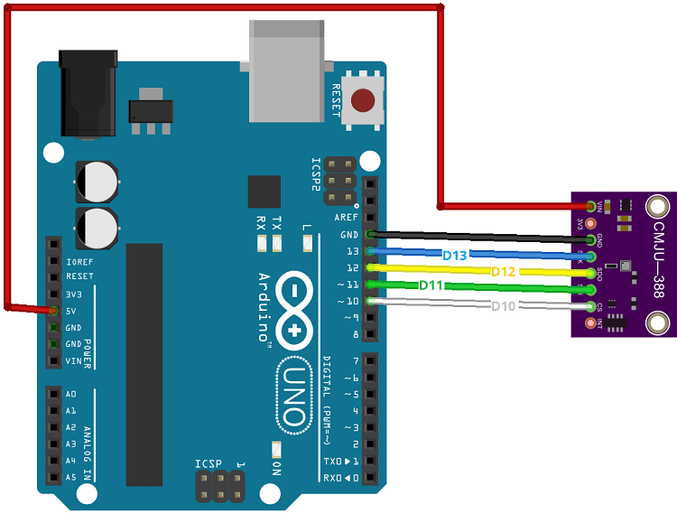 Arduino with BMP388 Altimeter Pressure Sensor Wiring Circuit Diagram SPI
