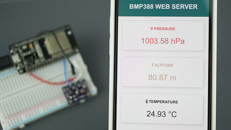 ESP32 BMP388 Sensor Altitude Pressure Temperature Arduino Web Server