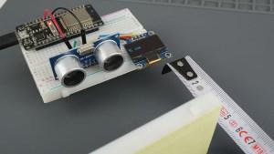 ESP32 Board HC-SR04 Ultrasonic Sensor Module Arduino OLED Demonstration