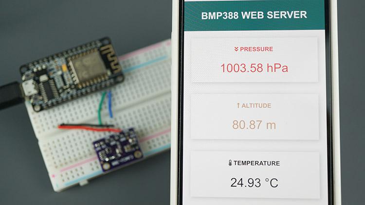 ESP8266 NodeMCU BMP388 Sensor Altitude Pressure Temperature Arduino Web Server