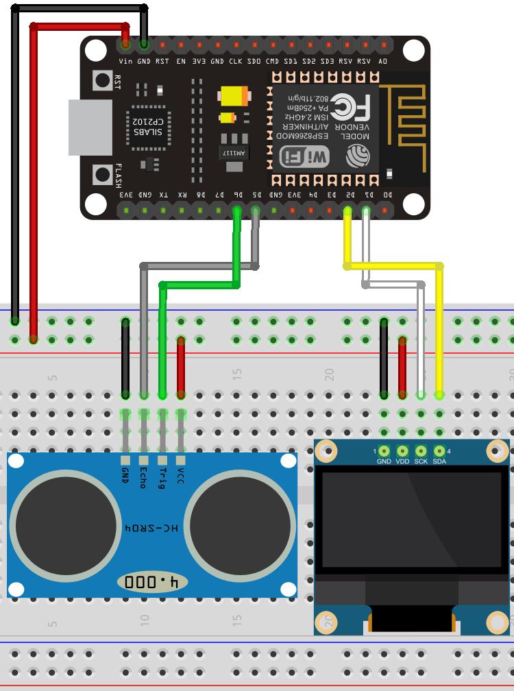 ESP8266 NodeMCU with HC-SR04 and OLED Display Wiring Diagram