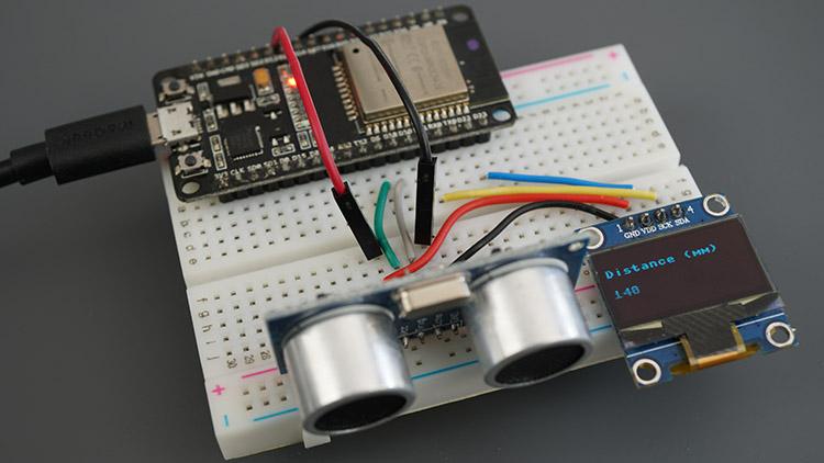 MicroPython ESP32 ESP8266 NodeMCU Board HC-SR04 Ultrasonic Sensor Module Arduino OLED Demonstration