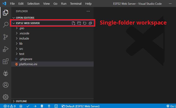 Single Folder Workspace VS Code ESP32 and ESP8266