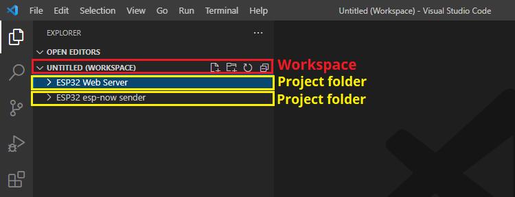 Multi-root workspace untitled VS Code ESP32 ESP8266