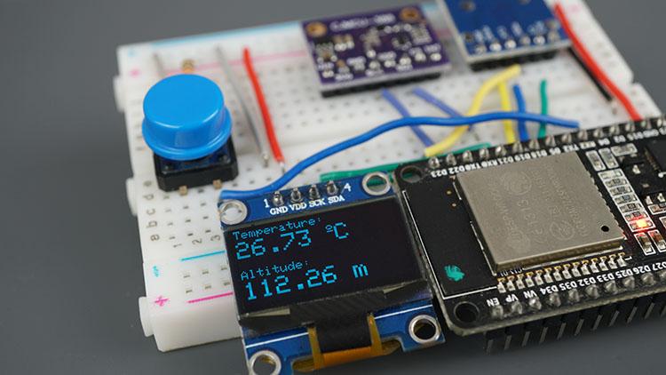 ESP32 BMP388 Sensor Altitude Pressure Temperature Arduino Oled SSD1306 MicroSD Card Parts Required