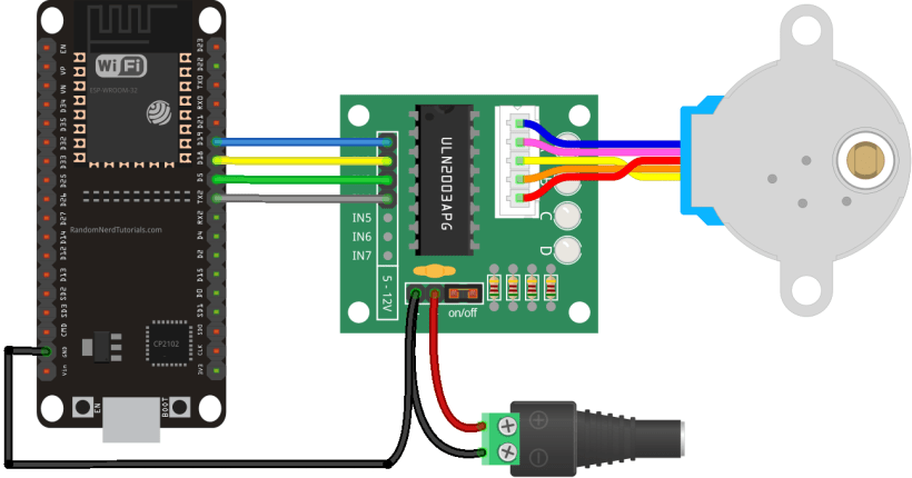 ESP32 with Stepper Motor 28BYJ-48 and ULN2003A Schematic Diagram Wiring