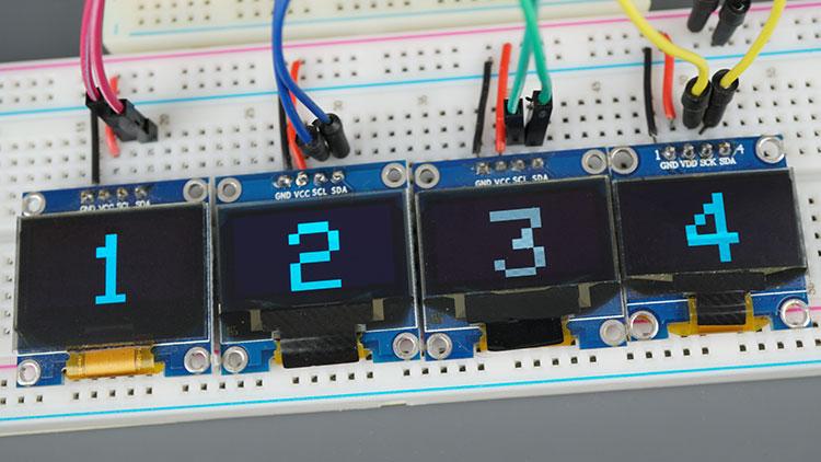 OLED SSD1306 Demonstration TCA9548A I2C Multiplexer Sensor Module