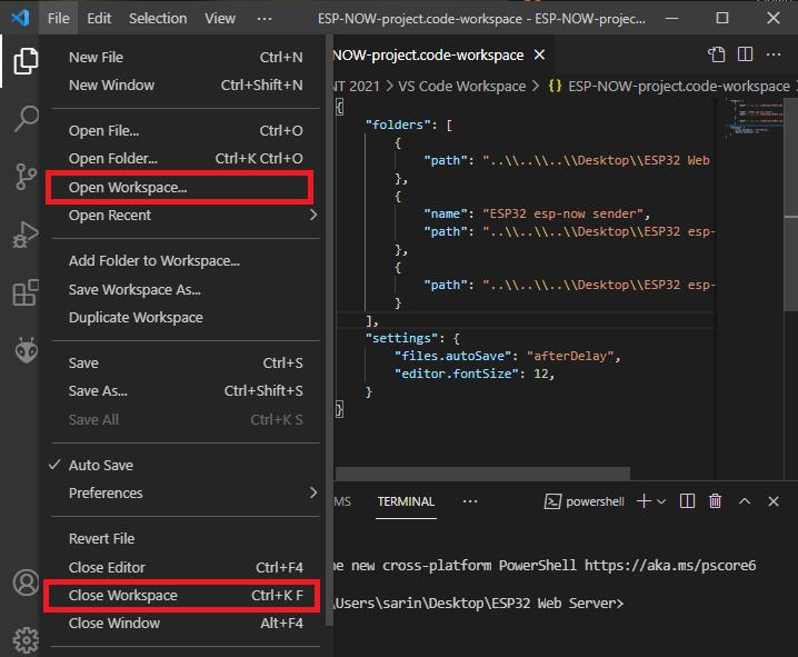 VS Code Open Close Workspace