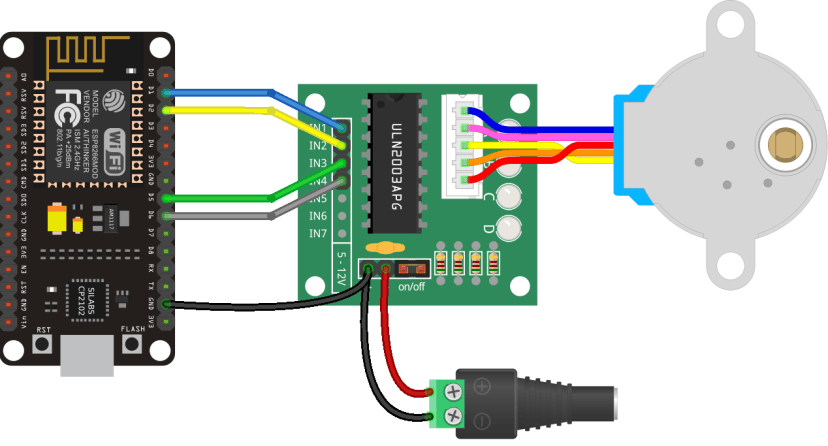 ESP8266 with Stepper Motor 28BYJ-48 and ULN2003A Schematic Diagram Wiring