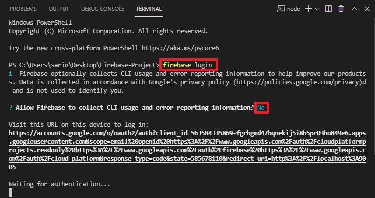 Login Firebase VS Code Terminal Window